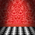 Red Damask Wallpaper With Blac...