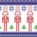 Red , dark blue , and green Nordic Christmas pattern with nutcracker soldier , Xmas trees , snowflakes, stars, snow decorative or Royalty Free Stock Photo