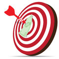 Red dart hitting money on target illustration of in financial goal concept Royalty Free Stock Photos