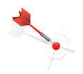 Red dart hitting the target illustration design over a white background Royalty Free Stock Photos