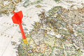 Red darts on world map Royalty Free Stock Photo