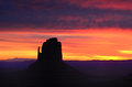Red dawn east mitten butte monument valley colorful sunrise navajo permit on file Royalty Free Stock Photography