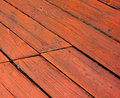 Red deck boards Royalty Free Stock Photo