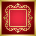 Red decorative card with golden frame vector eps Stock Photos