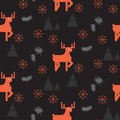 Red deer in a dark woods seamless pattern.