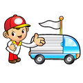 Red delivery man mascot toward the truck convoy product and dis distribution system character design series Stock Photo