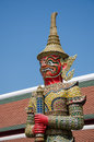 The red demon in thai art yaksa is a one of all name is that stayed at main gate around royal church religious belief Royalty Free Stock Images