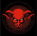 Red devil head with the horns and wooden beer keg on background, vector logo.