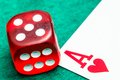 Red dice with ace Royalty Free Stock Photography