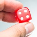 Red dice in a casino Royalty Free Stock Photo