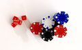 Red dice and casino chips from above Royalty Free Stock Photo