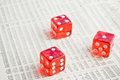 Red dice on the financial newspaper Royalty Free Stock Images