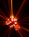 Red Dice with Light Beams
