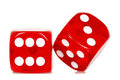 Red dice two on white Royalty Free Stock Photos