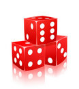 Red dice with white dots in ctack Royalty Free Stock Images