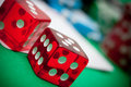 Red dices in casino Royalty Free Stock Photo