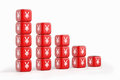 Red dices with yen yuan currency symbol devaluation of chart graph made of Stock Photo