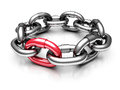 Red different chain link teamwork concept d render illustration Stock Photography