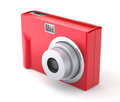 Red digital compact photo camera on the white background Royalty Free Stock Images