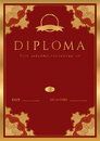 Red diploma certificate background with border vertical dark maroon vinous of completion template guilloche pattern watermarks and Stock Photography