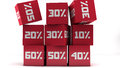 Red discount cubes d design and white background Stock Image