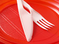 Red disposable plate Stock Photos