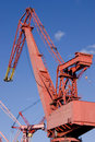 Red dockside crane Royalty Free Stock Photo