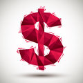 Red dollar sign geometric icon made in 3d modern style, best for Royalty Free Stock Photo