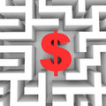 Red dollar sign into the maze. Royalty Free Stock Photo