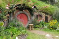 Red door hobbit house hobbiton matamata new zealand Stock Photography