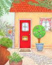 Red door illustration of a front of a house with a Royalty Free Stock Images