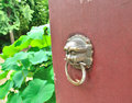 Red door knocker on the Royalty Free Stock Photography