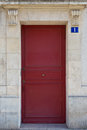 Red door in le marais area of paris france a found the district Stock Photos