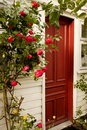 Red Door and Roses Stock Photo