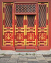 Red doors with golden painting 1 Royalty Free Stock Photo