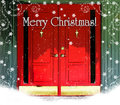 Red Doors Merry Christmas Stock Photography
