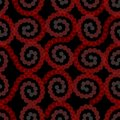 Red dots spiral. Semitransparent dot patterns. Seamless vector, spirals on black background. Overlapping ornaments