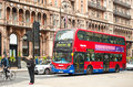 Red double decker bus in front of The Hotel Russell Royalty Free Stock Photography