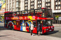Red double decker bus in kiev tour on the streets of Stock Photos