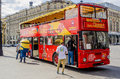 Red double decker bus in moscow center tour on the streets of Stock Photos