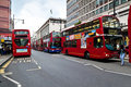 Red double decker buses in Oxford Street Stock Photos