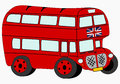 Red double decker funny london on a white background place on any text on the side Stock Photos