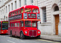 Red double decker london february bus on the trafalgar square in london on febuary in london uk these dobledecker bus is one of Royalty Free Stock Photo