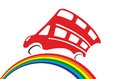 Red doubledecker rides by rainbow Royalty Free Stock Photo
