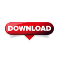 Red Download glossy web button vector