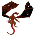 Red dragon a creature of myth and fantasy the is a fierce flying monster with horns and large teeth Royalty Free Stock Photography