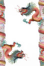 Red dragon pole isolated Stock Photos