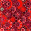 Red dragon scales seamless square pattern. Chinese, japanese, thai motives.