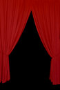 Red drapes background open tied with rope elegant stage curtains on black abstract design element Royalty Free Stock Photos