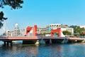 Red drawbridge Royalty Free Stock Photo